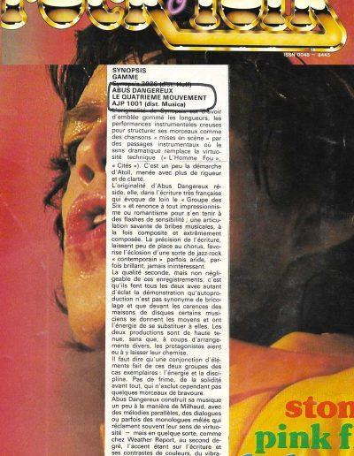 revue disque Abus Dangereux (1980)