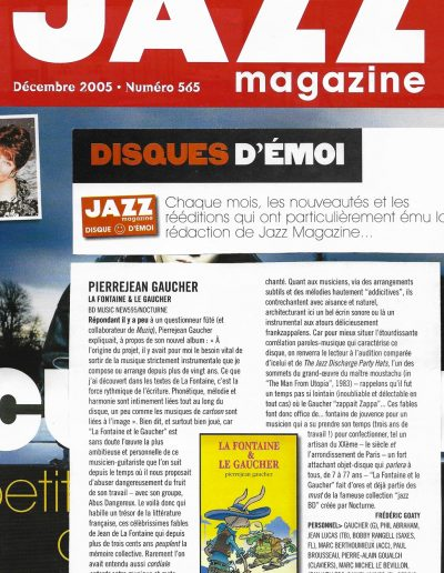 """sélection disque du mois """"la fontaine"""" (Jazzmag 2005)"""
