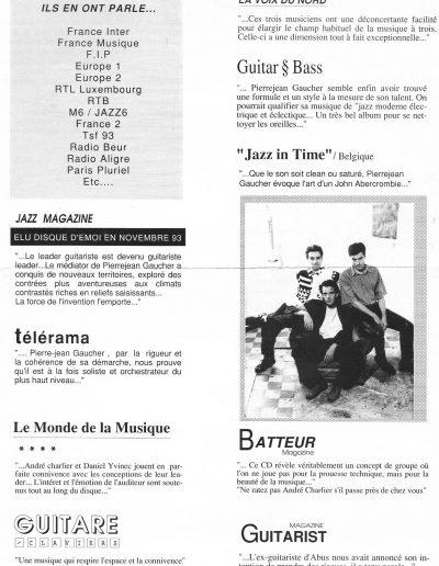 extraits presse New trio (1993)