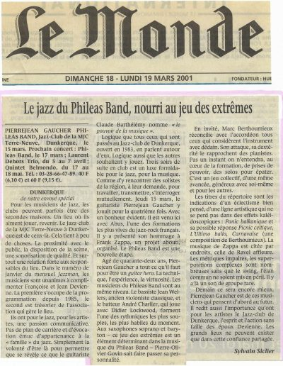 article du Monde Phileas Band (2001)