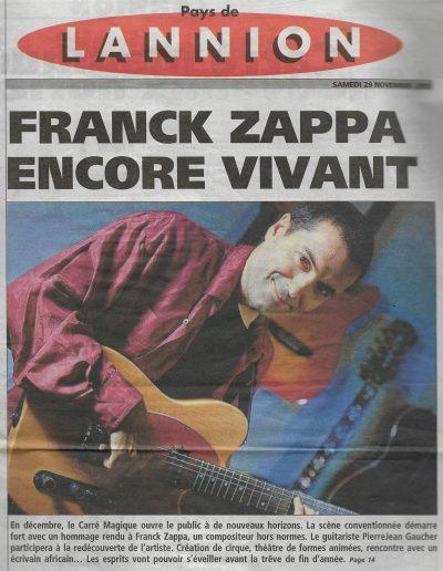 annonce concert Zappe Zappa (2003)