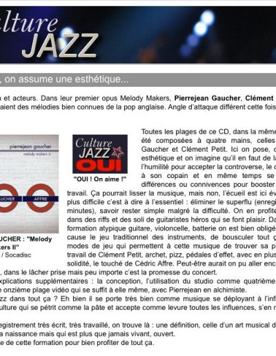 sélection CD sur Culture Jazz (2012)