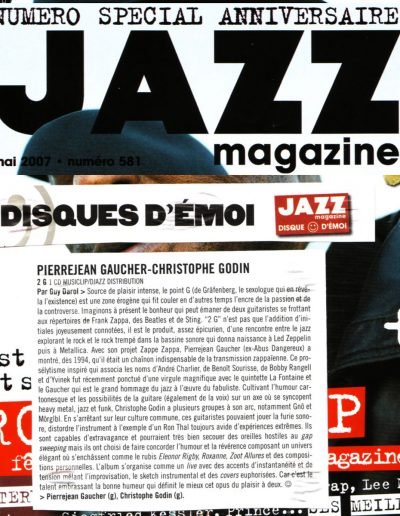 sélection disque du mois 2G (Jazzmag 2007-G.Darol)